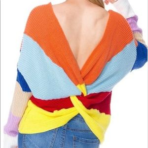 Sweaters - Color Block Knit Sweater